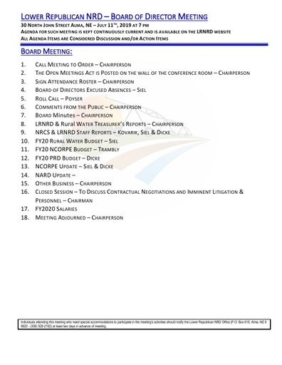Agenda FY'20 7/11/19