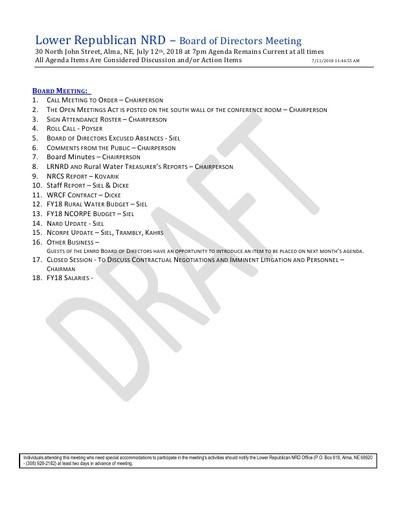 Agenda FY'19 7/12/18