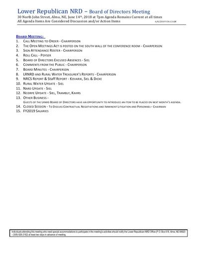Agenda FY'18 6/14/18