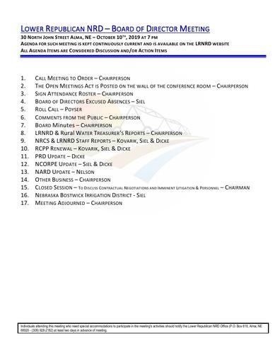 Agenda FY20 10 10 19