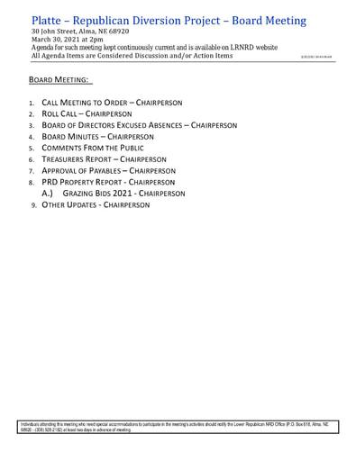 March 30 agenda PRD